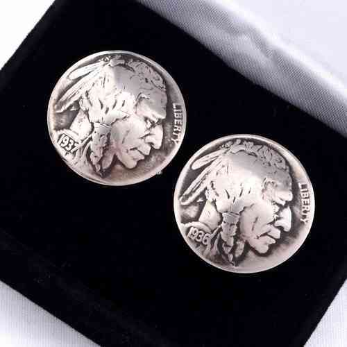 Indianerschmuck Cufflinks Silber Indian Head Nickels