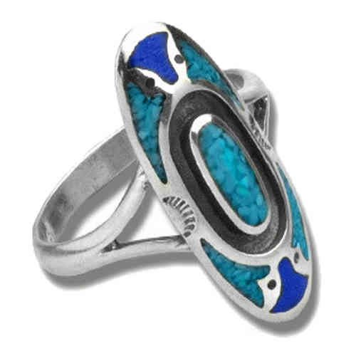 Indianerschmuck Ring Silber Indian Pattern Türkis/Lapis