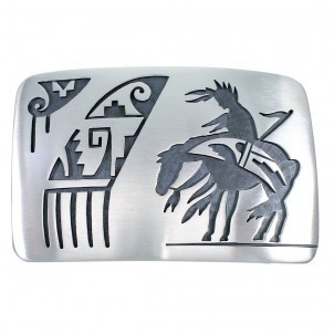 Indianerschmuck Buckle Silber End of the Trail HOPI