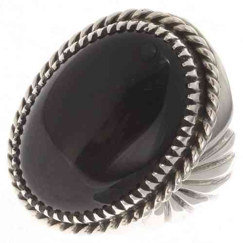 Indianerschmuck Ring Silber Black Beauty Onyx