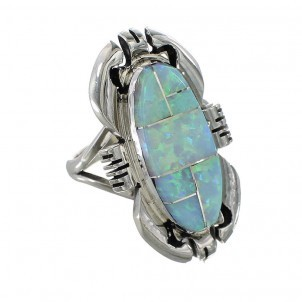 Ring Silber weißes Opal-Inlay