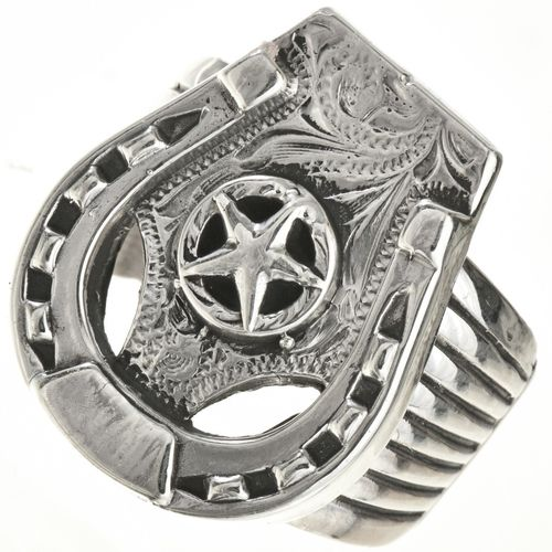 Ring Silber Texas Lone Star Horseshoe