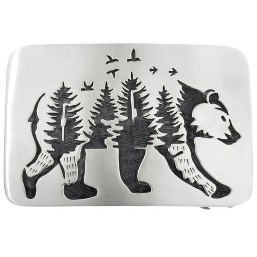 Buckle Silber Walking Bear