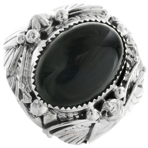 Silberring BIG BOY floral Onyx