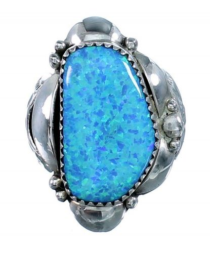 Silberring Blue Opal Free Form