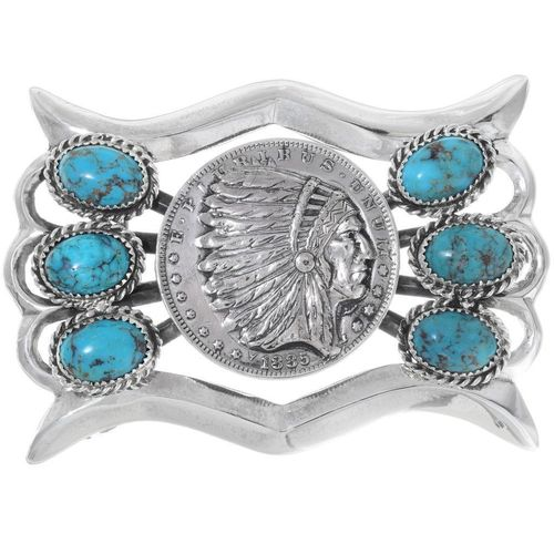 Buckle Silber Indian Chief Türkis